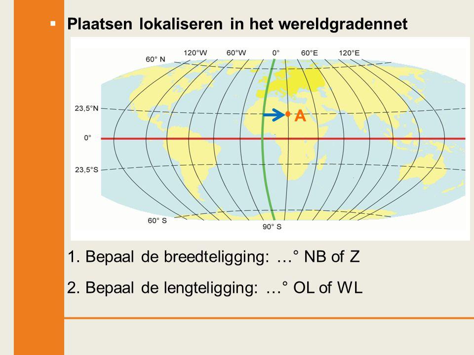  Plaatsen lokaliseren in het wereldgradennet 1. Bepaal de breedteligging: …° NB of Z 2. Bepaal de lengteligging: …° OL of WL A