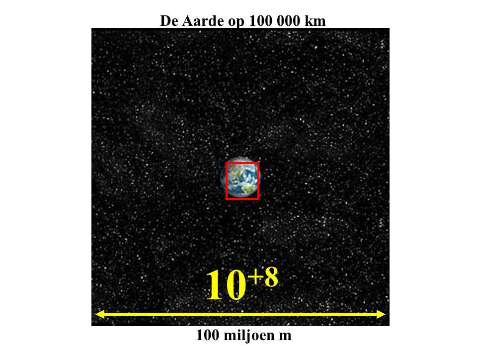 10 +8 100 miljoen m De Aarde op 100 000 km
