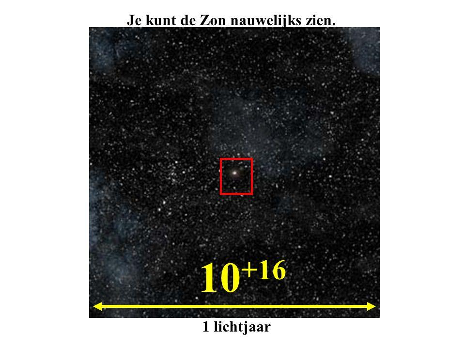 10 +16 1 lichtjaar Je kunt de Zon nauwelijks zien.