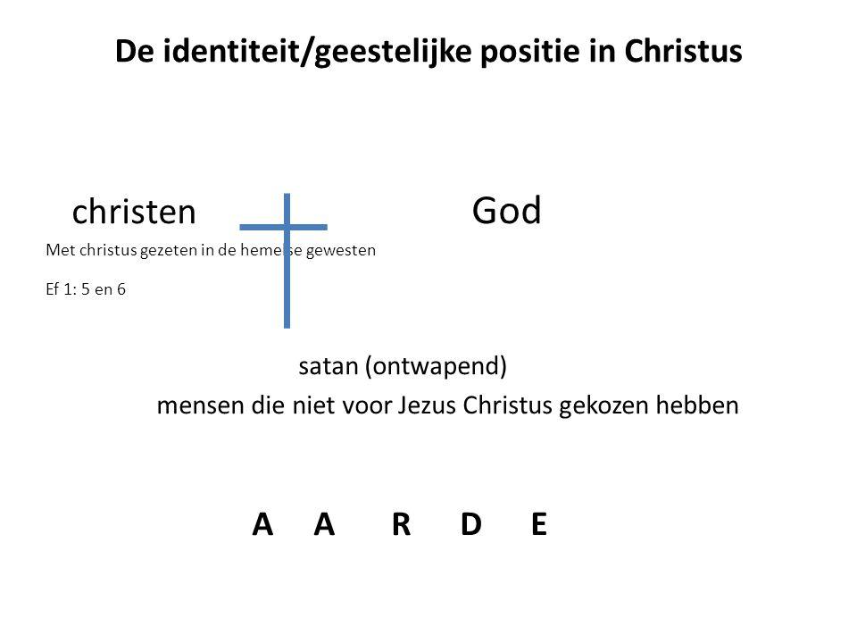 christen God Met christus gezeten in de hemelse gewesten Ef 1: 5 en 6 satan (ontwapend) mensen die niet voor Jezus Christus gekozen hebben A A R D E D