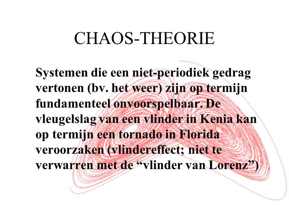 CHAOS-THEORIE Systemen die een niet-periodiek gedrag vertonen (bv.