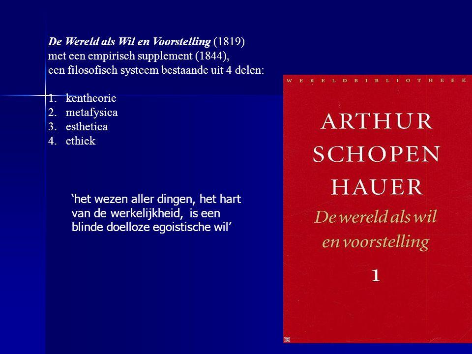De Wereld als Wil en Voorstelling (1819) met een empirisch supplement (1844), een filosofisch systeem bestaande uit 4 delen: 1.kentheorie 2.metafysica