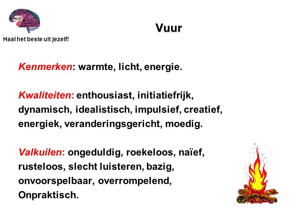 Haal het beste uit jezelf! Vuur Kenmerken: warmte, licht, energie. Kwaliteiten: enthousiast, initiatiefrijk, dynamisch, idealistisch, impulsief, creat