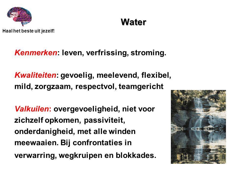 Haal het beste uit jezelf! Water Kenmerken: leven, verfrissing, stroming. Kwaliteiten: gevoelig, meelevend, flexibel, mild, zorgzaam, respectvol, team