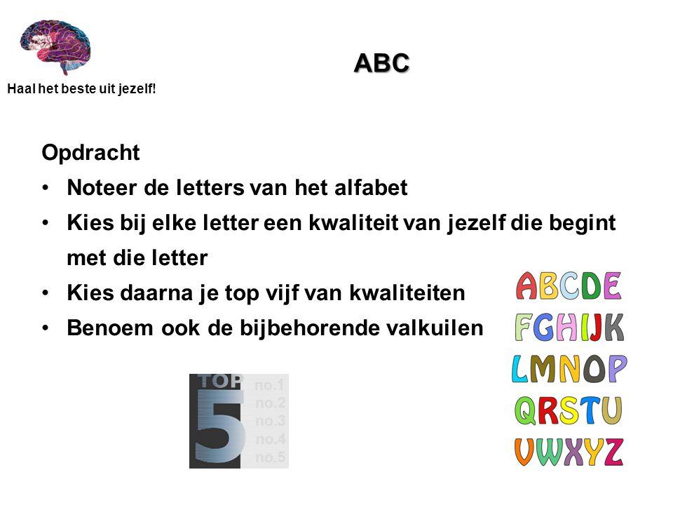 Haal het beste uit jezelf! ABC Opdracht Noteer de letters van het alfabet Kies bij elke letter een kwaliteit van jezelf die begint met die letter Kies