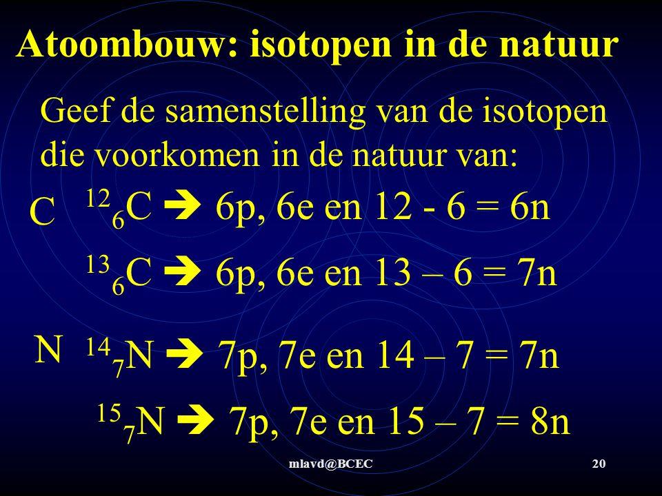 mlavd@BCEC19 Atoombouw: isotopen in de natuur Tabel 25: geeft voorkomen van isotopen in de natuur en hun samenstelling De isotopen die niet in de natu