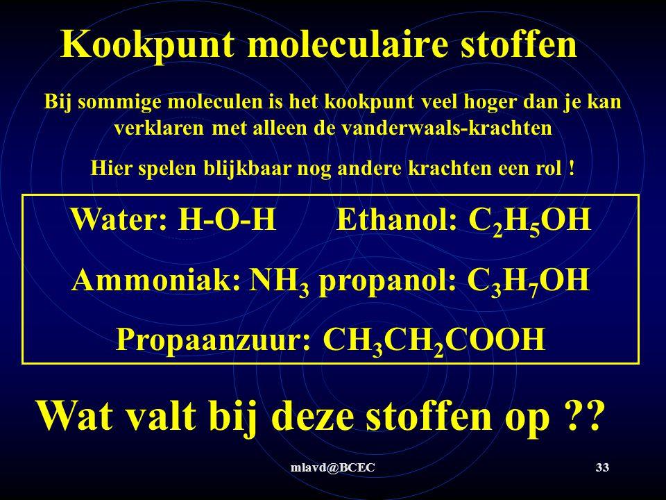 mlavd@BCEC32 Kookpunt moleculaire stoffen Bij sommige moleculen is het kookpunt veel hoger dan je kan verklaren met alleen de vanderwaals-krachten Mas