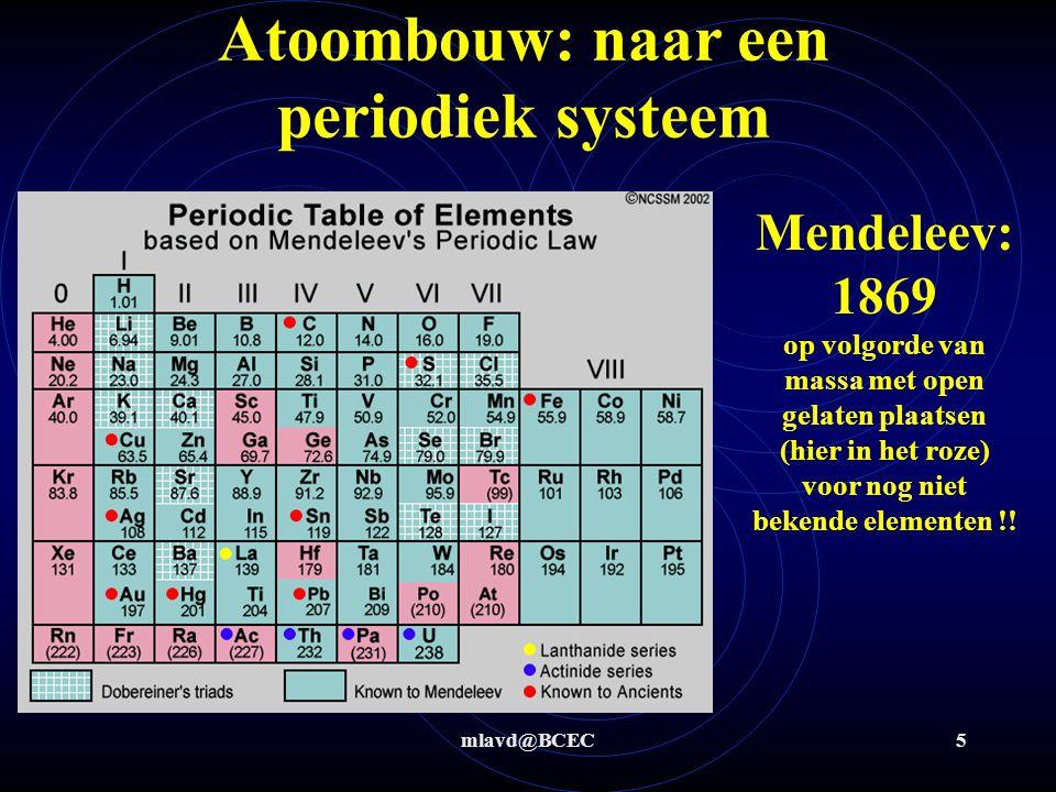 mlavd@BCEC4 Atoombouw: naar een periodiek systeem Triaden van Dobereiner: 1817 Octaven van Newlands: 1864 op volgorde van massa (lijkt al wat meer op