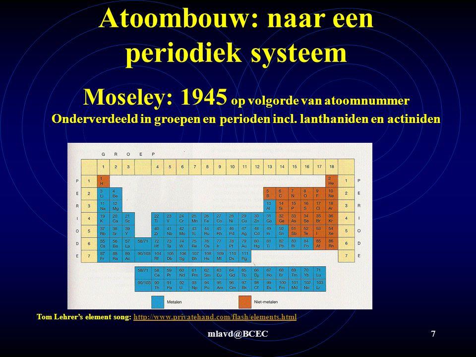 mlavd@BCEC6 Atoombouw: naar een periodiek systeem Moseley: 1913 op volgorde van atoomnummer Onderverdeeld in groepen en perioden (maar nog zonder lant