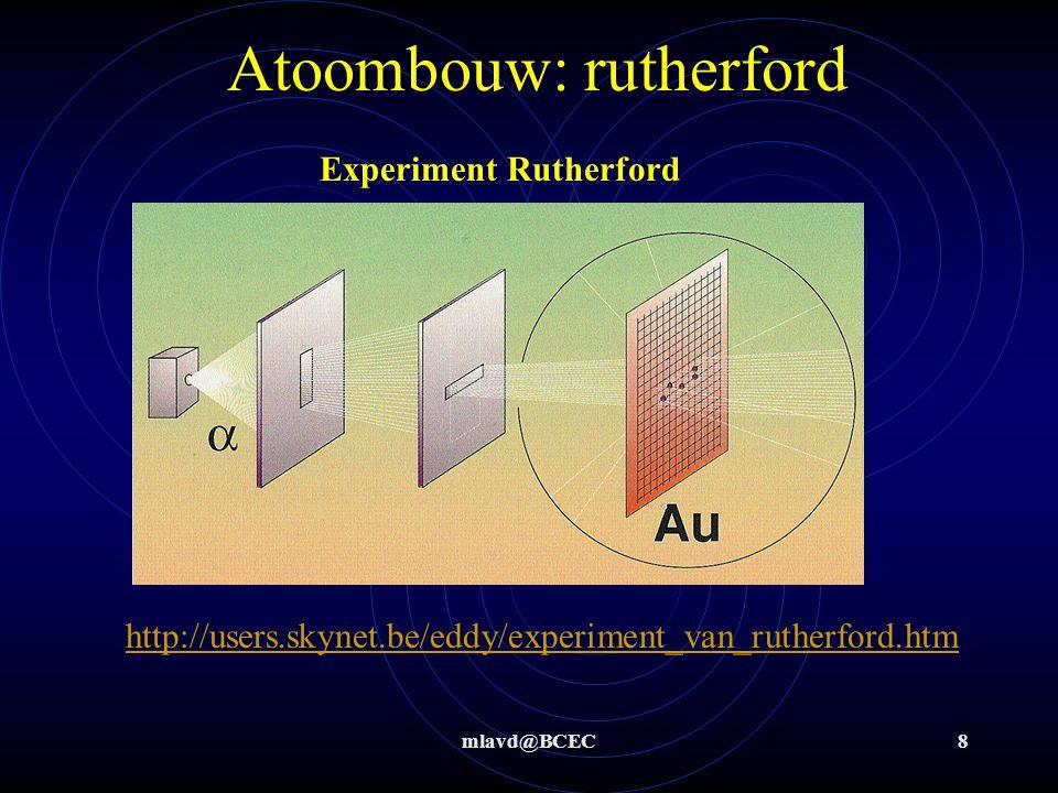 mlavd@BCEC7 Atoombouw: naar een periodiek systeem Moseley: 1945 op volgorde van atoomnummer Onderverdeeld in groepen en perioden incl. lanthaniden en