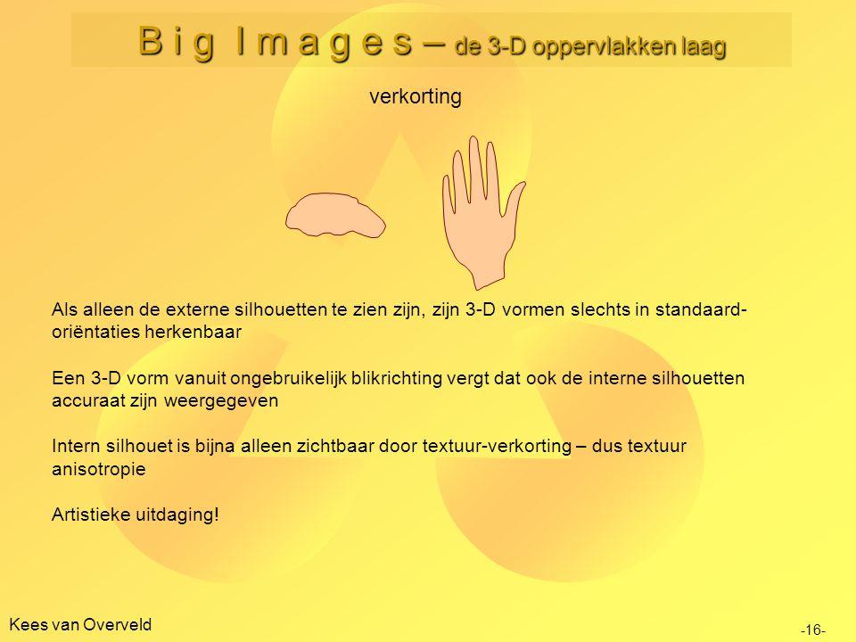 Kees van Overveld verkorting -16- B i g I m a g e s – de 3-D oppervlakken laag Als alleen de externe silhouetten te zien zijn, zijn 3-D vormen slechts