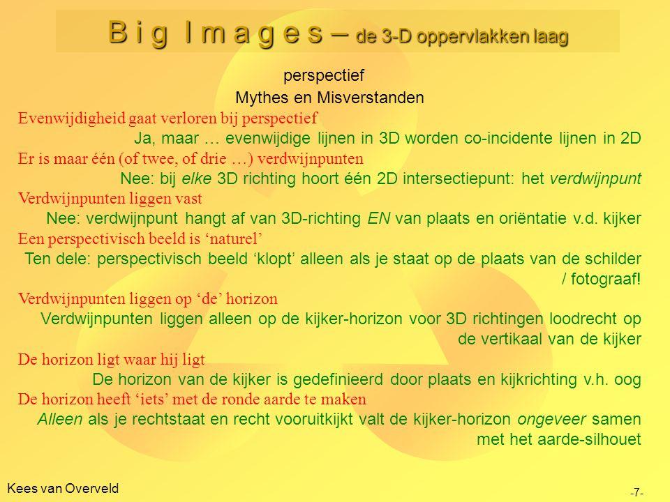 Kees van Overveld perspectief -7- B i g I m a g e s – de 3-D oppervlakken laag Mythes en Misverstanden Evenwijdigheid gaat verloren bij perspectief Ja