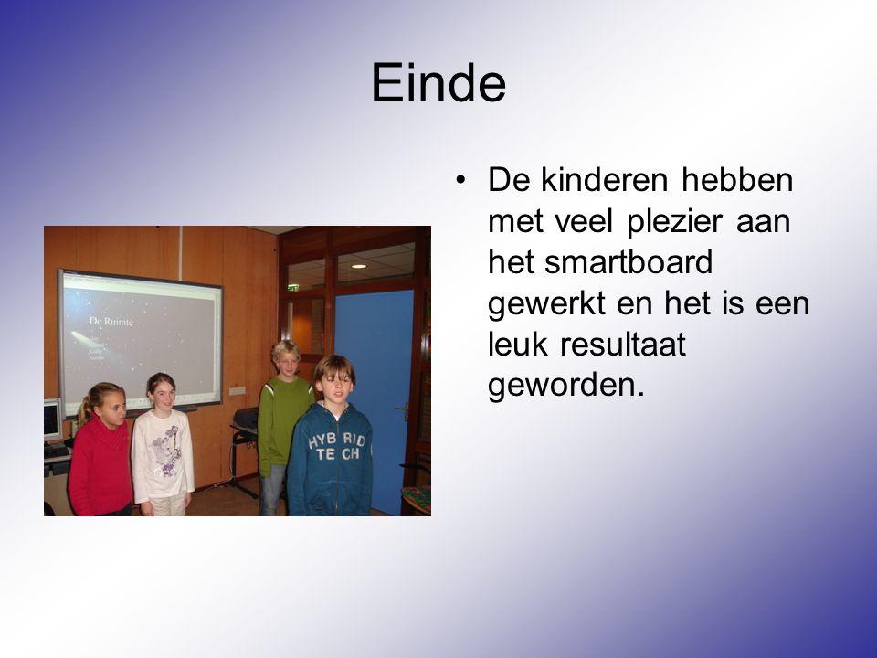 Evaluatie De kinderen hebben voor ze aan het project begonnen een mindmap gemaakt over het smartbord (dit zijn de gele vakken) Na het project hebben ze de mindmap aangevuld met wat ze geleerd hadden(dit zijn de groene vakken) De kinderen hebben snel dit nieuwe media tot zich gemaakt.