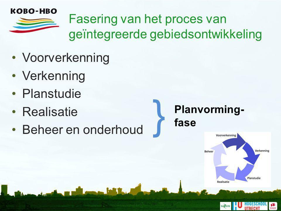Fasering van het proces van geïntegreerde gebiedsontwikkeling Voorverkenning Verkenning Planstudie Realisatie Beheer en onderhoud Planvorming- fase }