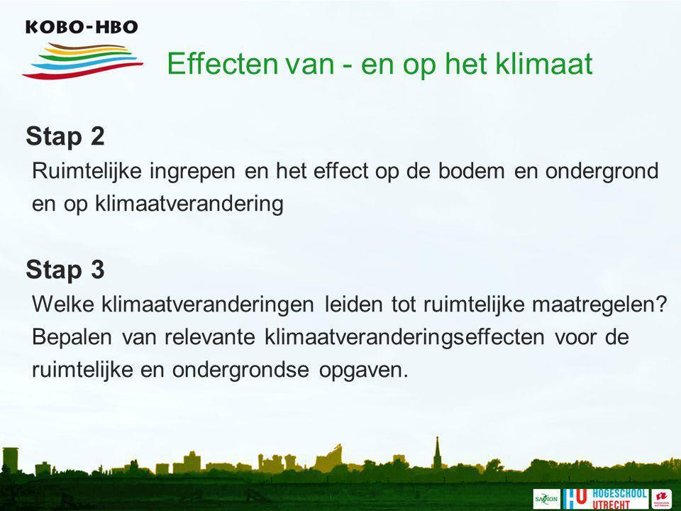 Stap 2 Ruimtelijke ingrepen en het effect op de bodem en ondergrond en op klimaatverandering Stap 3 Welke klimaatveranderingen leiden tot ruimtelijke