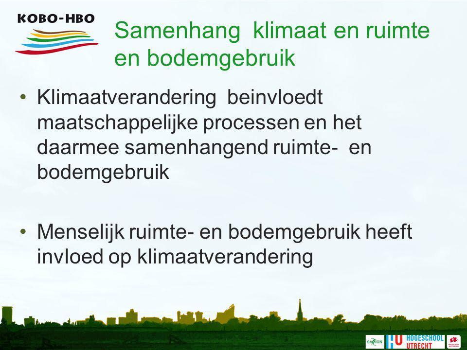 Samenhang klimaat en ruimte en bodemgebruik Klimaatverandering beinvloedt maatschappelijke processen en het daarmee samenhangend ruimte- en bodemgebru