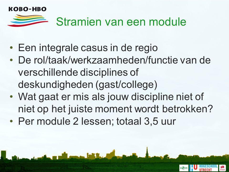 Stramien van een module Een integrale casus in de regio De rol/taak/werkzaamheden/functie van de verschillende disciplines of deskundigheden (gast/col