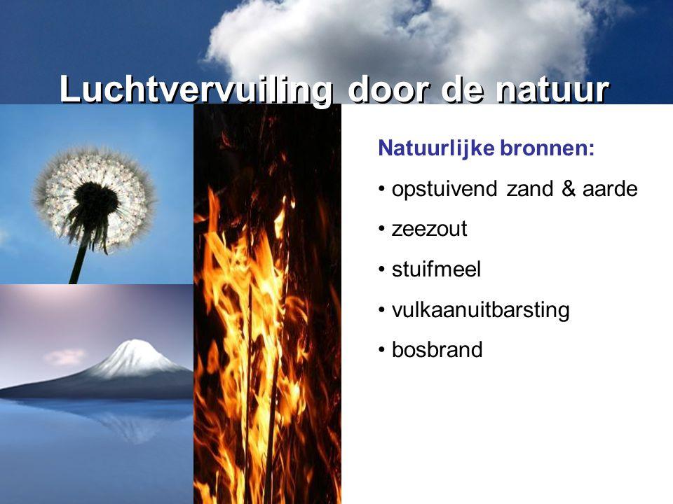 Natuurlijke bronnen: opstuivend zand & aarde zeezout stuifmeel vulkaanuitbarsting bosbrand Luchtvervuiling door de natuur