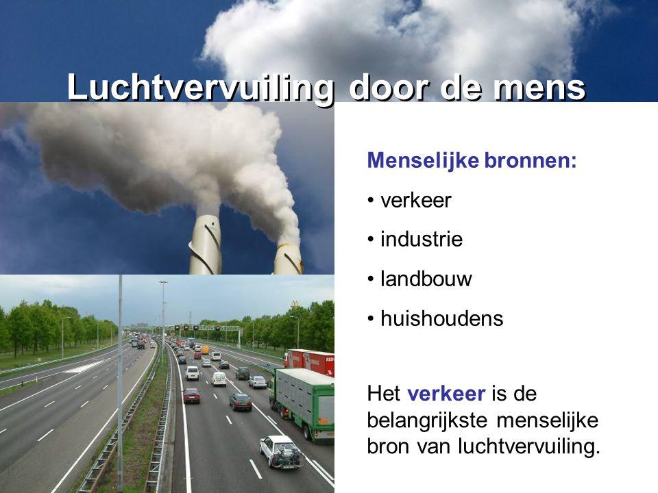Het verkeer is de belangrijkste menselijke bron van luchtvervuiling. Luchtvervuiling door de mens Menselijke bronnen: verkeer industrie landbouw huish