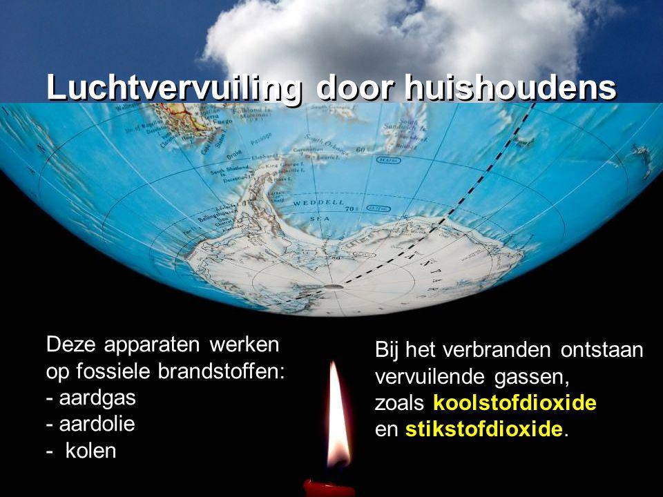 Bij het verbranden ontstaan vervuilende gassen, zoals koolstofdioxide en stikstofdioxide. Deze apparaten werken op fossiele brandstoffen: - aardgas -