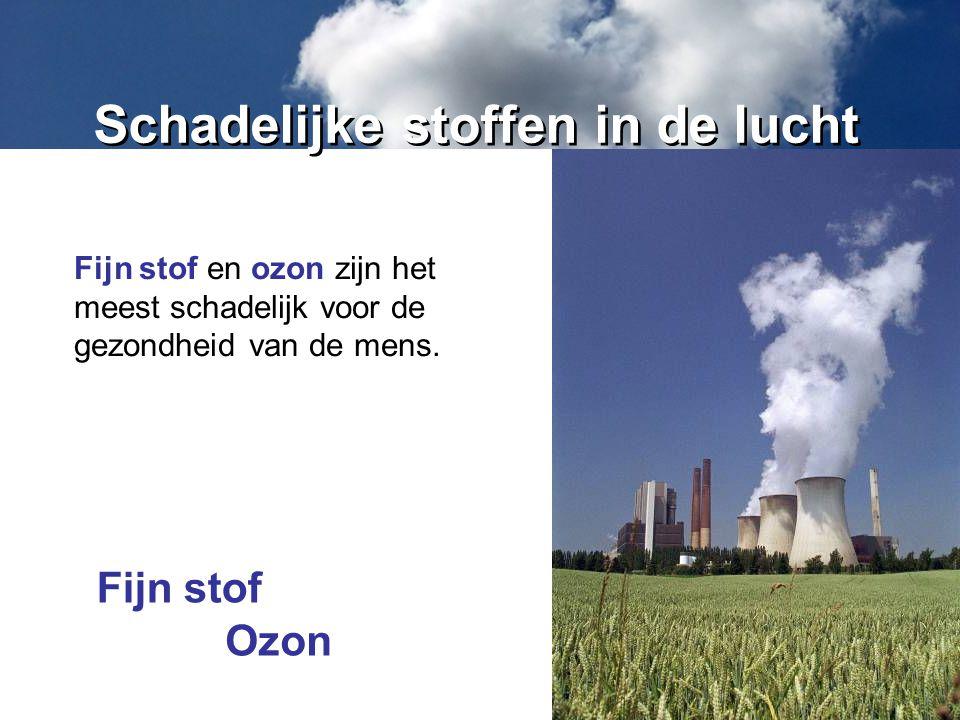 Schadelijke stoffen in de lucht Fijn stof en ozon zijn het meest schadelijk voor de gezondheid van de mens. Fijn stof Ozon