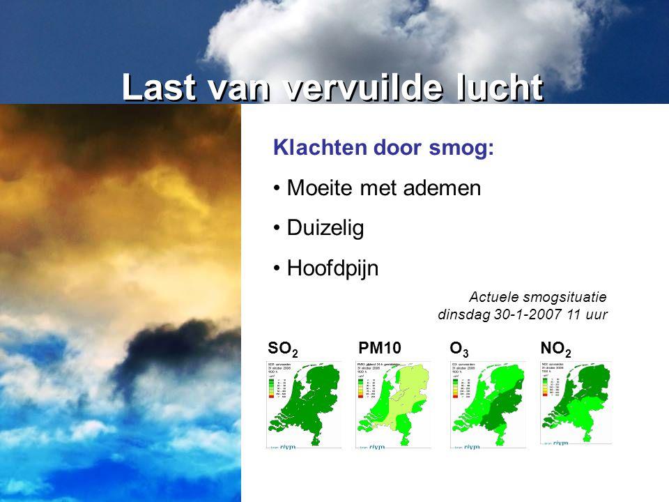 Last van vervuilde lucht Klachten door smog: Moeite met ademen Duizelig Hoofdpijn Actuele smogsituatie dinsdag 30-1-2007 11 uur SO 2 PM10O3O3 NO 2