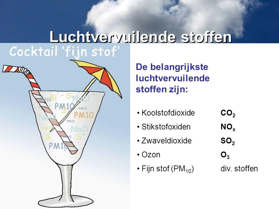 KoolstofdioxideCO 2 StikstofoxidenNO x ZwaveldioxideSO 2 OzonO 3 Fijn stof (PM 10 )div. stoffen De belangrijkste luchtvervuilende stoffen zijn: Luchtv