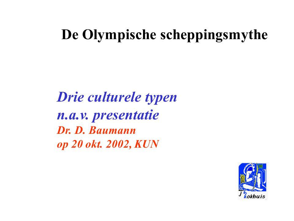 De Olympische scheppingsmythe Drie culturele typen n.a.v. presentatie Dr. D. Baumann op 20 okt. 2002, KUN