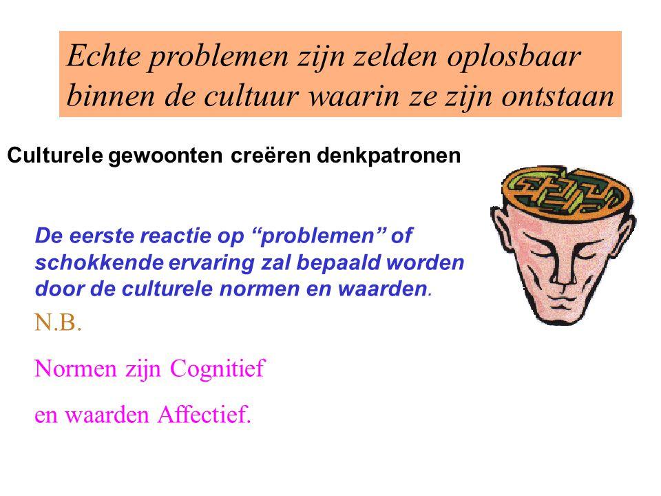 Culturele gewoonten creëren denkpatronen N.B. Normen zijn Cognitief en waarden Affectief. Echte problemen zijn zelden oplosbaar binnen de cultuur waar