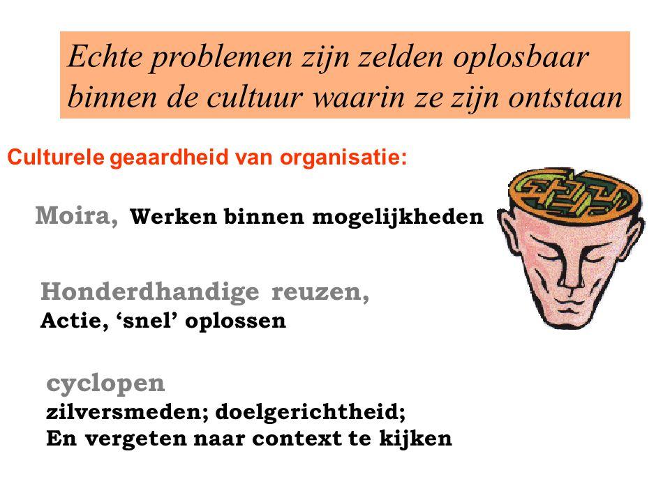 Culturele geaardheid van organisatie: Echte problemen zijn zelden oplosbaar binnen de cultuur waarin ze zijn ontstaan Honderdhandige reuzen, Actie, 's