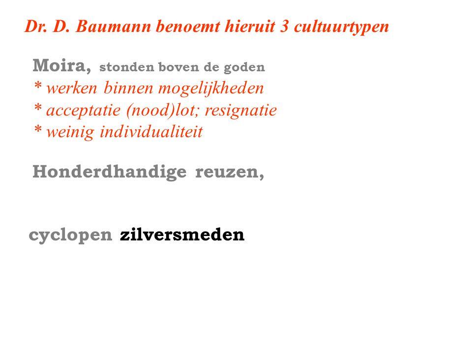 Dr. D. Baumann benoemt hieruit 3 cultuurtypen Honderdhandige reuzen, cyclopen zilversmeden Moira, stonden boven de goden * werken binnen mogelijkheden
