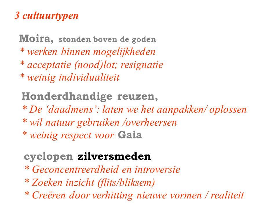 3 cultuurtypen Honderdhandige reuzen, * De 'daadmens': laten we het aanpakken/ oplossen * wil natuur gebruiken /overheersen * weinig respect voor Gaia
