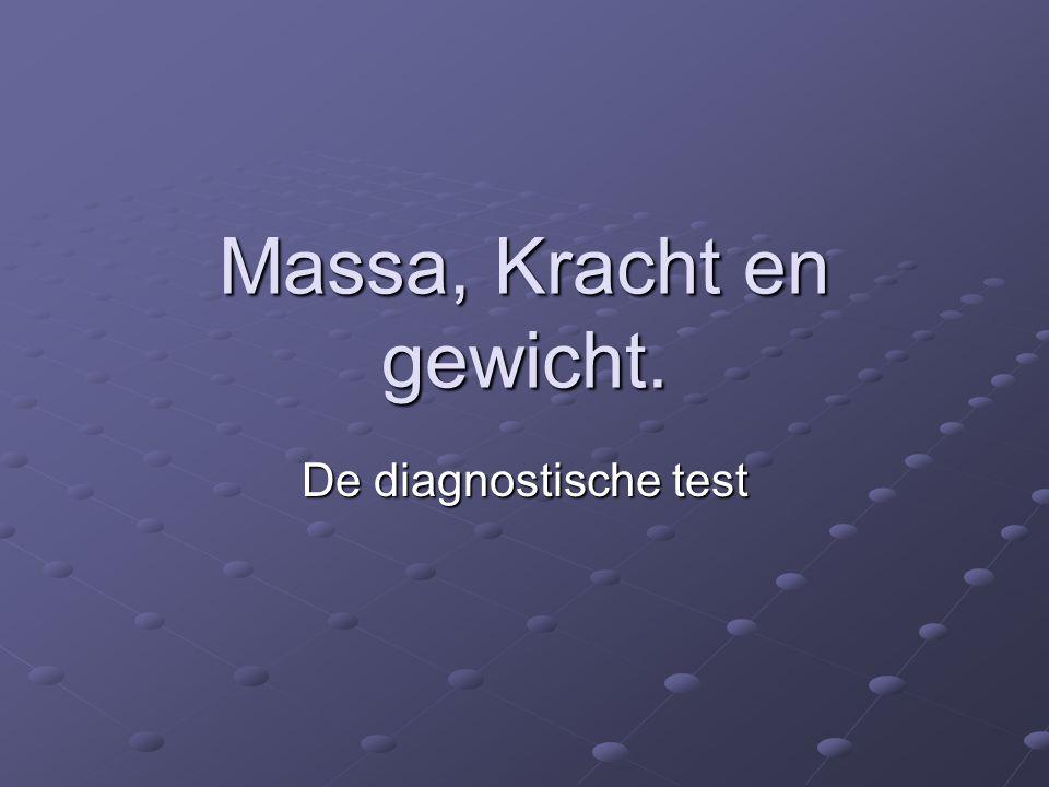 Massa, Kracht en gewicht. De diagnostische test