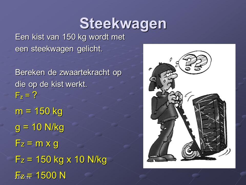 23:03:55 Steekwagen Een kist van 150 kg wordt met een steekwagen gelicht. Bereken de zwaartekracht op die op de kist werkt. F z = ? m = 150 kg g = 10