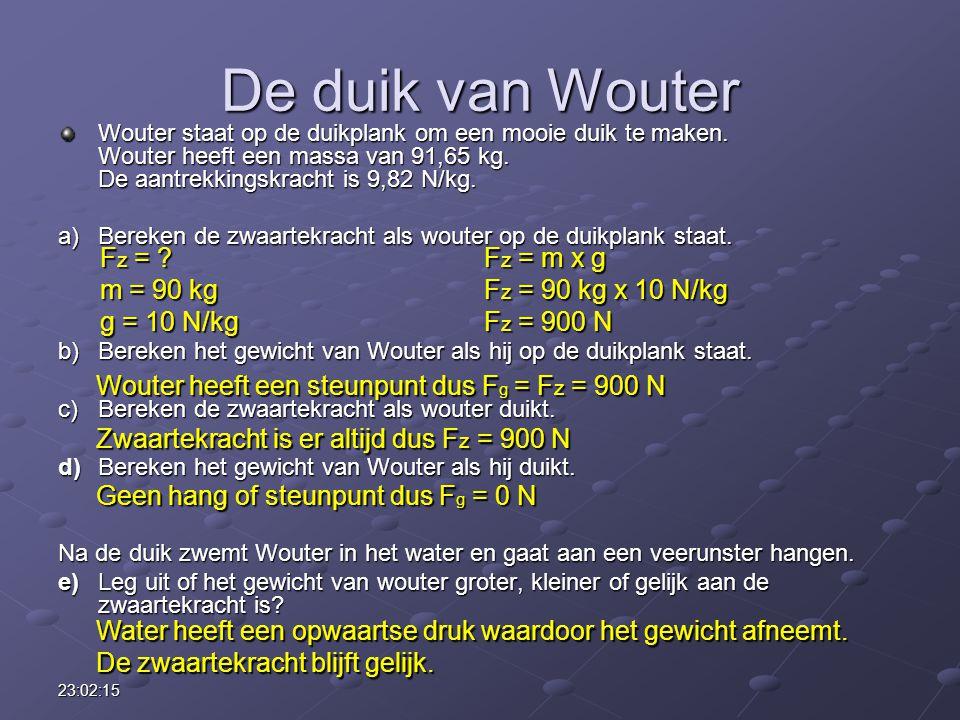 23:03:55 De duik van Wouter Wouter staat op de duikplank om een mooie duik te maken. Wouter heeft een massa van 91,65 kg. De aantrekkingskracht is 9,8