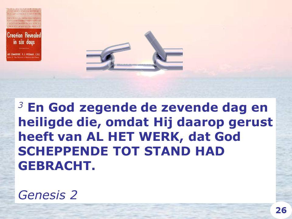 3 En God zegende de zevende dag en heiligde die, omdat Hij daarop gerust heeft van AL HET WERK, dat God SCHEPPENDE TOT STAND HAD GEBRACHT.