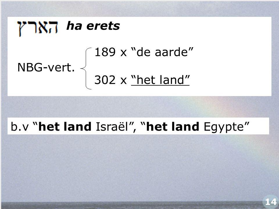 """ha erets NBG-vert. b.v """"het land Israël"""", """"het land Egypte"""" 14 189 x """"de aarde"""" 302 x """"het land"""""""