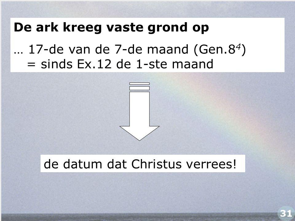 De ark kreeg vaste grond op … 17-de van de 7-de maand (Gen.8 4 ) = sinds Ex.12 de 1-ste maand de datum dat Christus verrees! 31