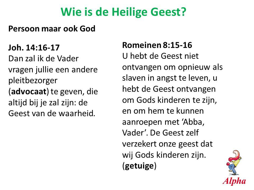 Wie is de Heilige Geest? Persoon maar ook God Joh. 14:16-17 Dan zal ik de Vader vragen jullie een andere pleitbezorger (advocaat) te geven, die altijd