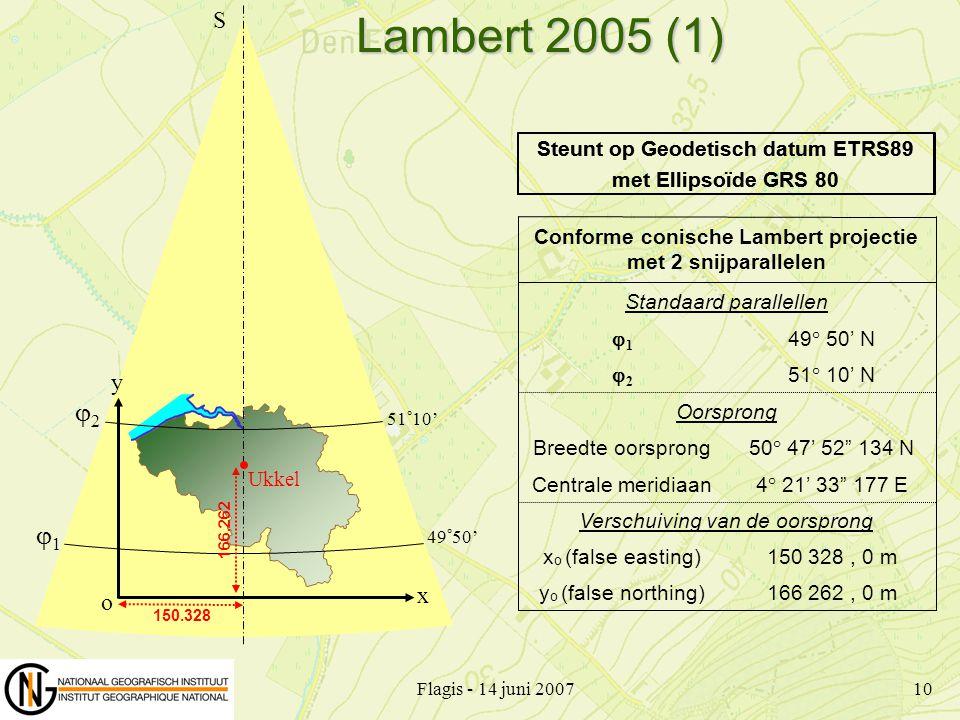 Flagis - 14 juni 200710 Steunt op Geodetisch datum ETRS89 met Ellipsoïde GRS 80 Conforme conische Lambert projectie met 2 snijparallelen Verschuiving