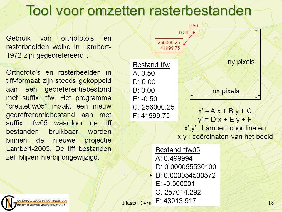 Flagis - 14 juni 200718 Gebruik van orthofoto's en rasterbeelden welke in Lambert- 1972 zijn gegeorefereerd : Orthofoto's en rasterbeelden in tiff-for