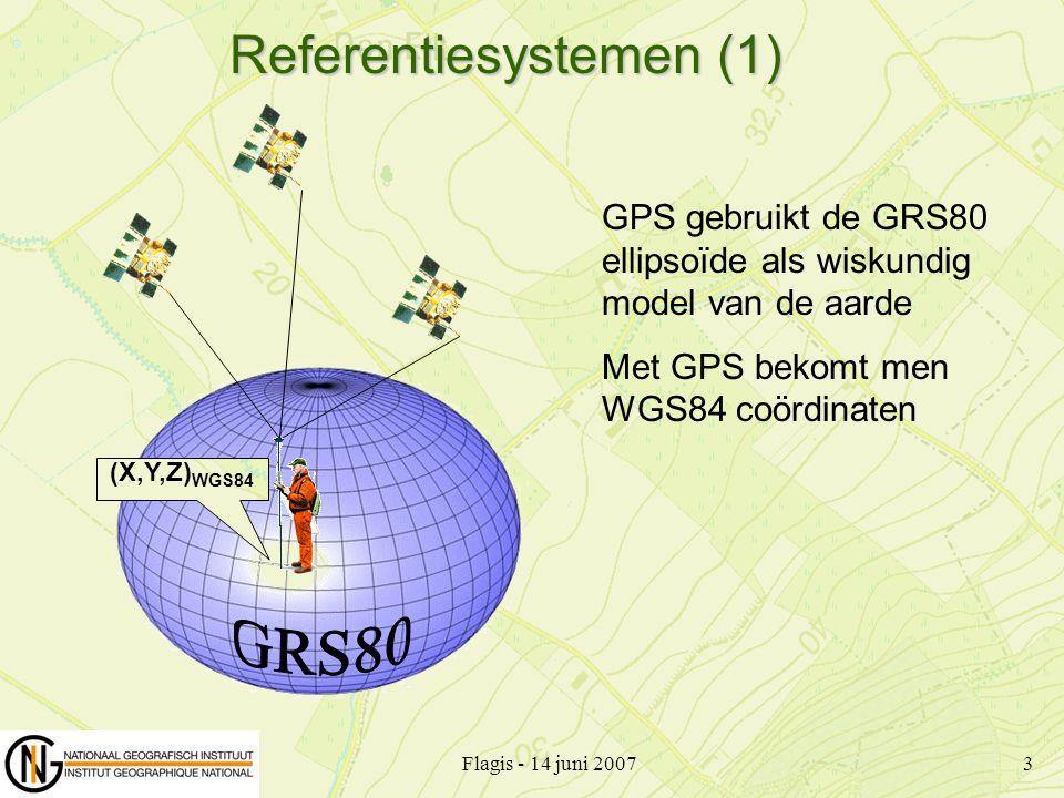 Flagis - 14 juni 20073 Referentiesystemen (1) (X,Y,Z) WGS84 GPS gebruikt de GRS80 ellipsoïde als wiskundig model van de aarde Met GPS bekomt men WGS84
