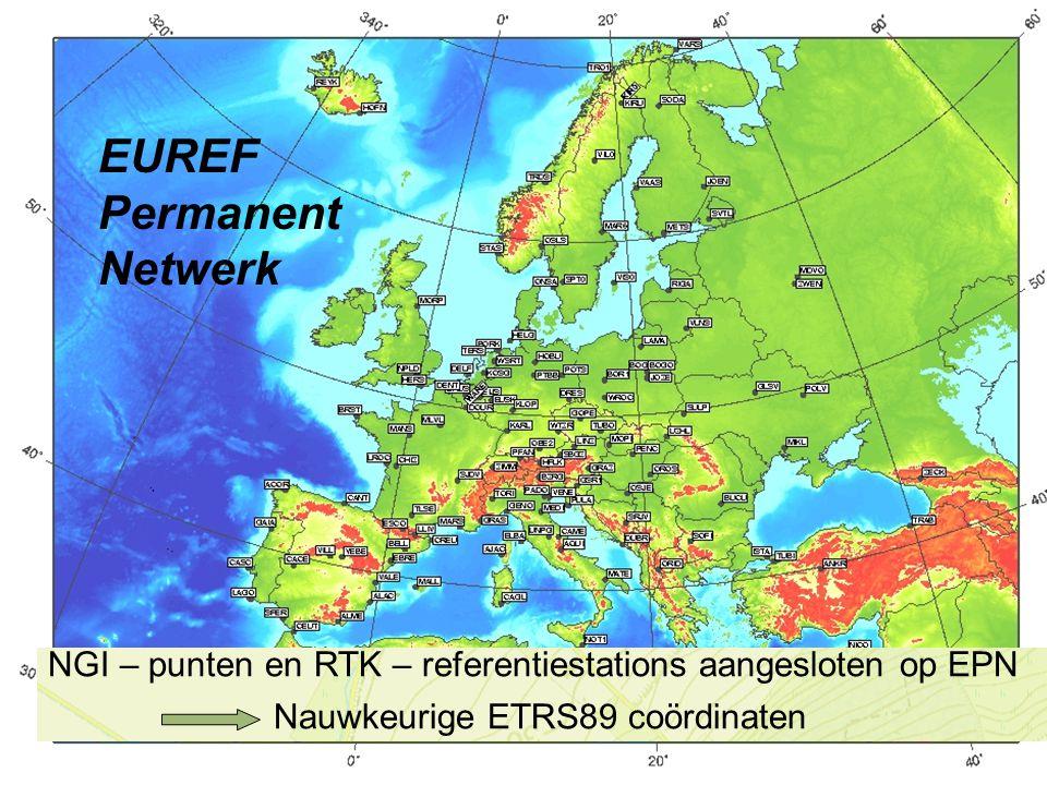 Flagis - 14 juni 20075 EUREF Permanent Netwerk NGI – punten en RTK – referentiestations aangesloten op EPN Nauwkeurige ETRS89 coördinaten