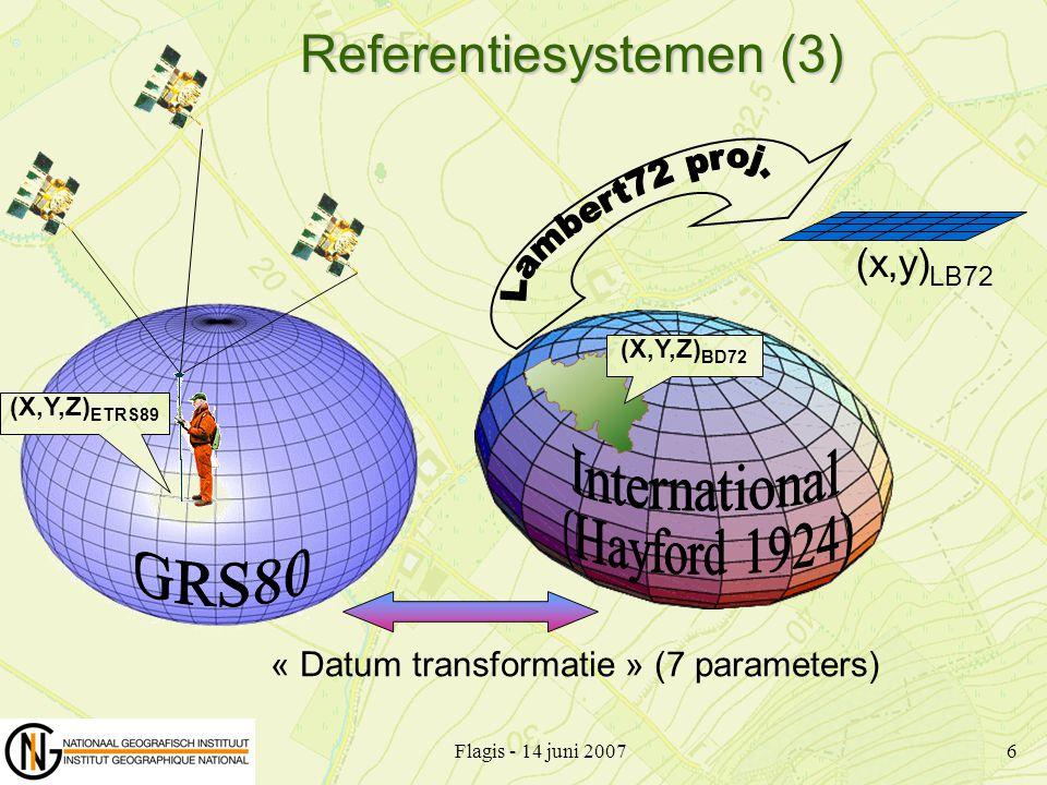 Flagis - 14 juni 20077 Transformatie tussen ETRS89 en de nationale referentiesystemen (X,Y,Z) ETRS89 ( ,,h) ETRS89 H TAW hBG03 (x,y) LB72 Correctie Grid ( ,,h) BD72 (x',y') LB72 Lambert72 projectie (X,Y,Z) BD72 7 parameters