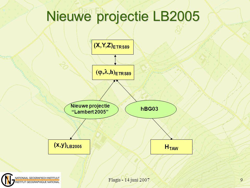 Flagis - 14 juni 200710 Steunt op Geodetisch datum ETRS89 met Ellipsoïde GRS 80 Conforme conische Lambert projectie met 2 snijparallelen Verschuiving van de oorsprong Oorsprong Standaard parallellen 166 262, 0 my o (false northing) 150 328, 0 mx o (false easting) 4° 21' 33 177 ECentrale meridiaan 50° 47' 52 134 NBreedte oorsprong 51° 10' N 22 49° 50' N 11 Lambert 2005 (1) 51°10' 11 49°50' Ukkel x y o S 22 150.328 166.262 Steunt op Geodetisch datum ETRS89 met Ellipsoïde GRS 80