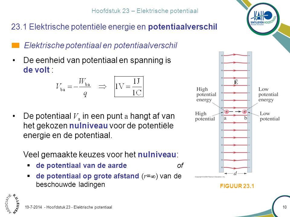 Hoofdstuk 23 – Elektrische potentiaal 19-7-2014 - Hoofdstuk 23 - Elektrische potentiaal 11 23.1 Elektrische potentiële energie en potentiaalverschil Elektrische potentiaal en potentiaalverschil Let dus op de volgorde van de indices.