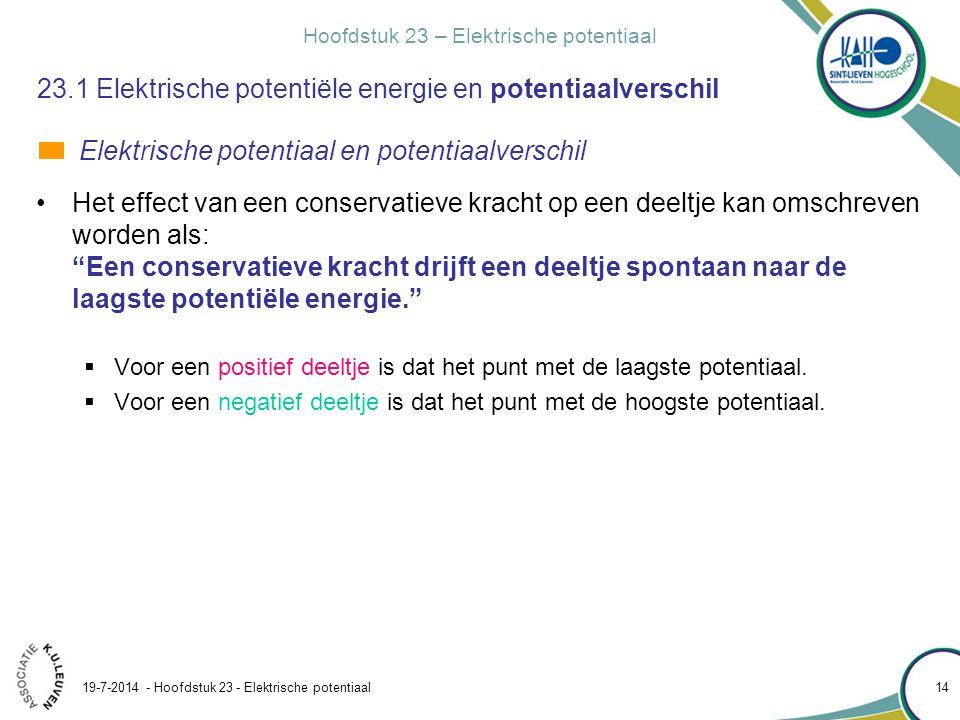 Hoofdstuk 23 – Elektrische potentiaal 19-7-2014 - Hoofdstuk 23 - Elektrische potentiaal 14 23.1 Elektrische potentiële energie en potentiaalverschil H