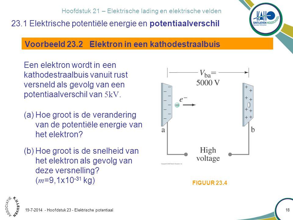 Hoofdstuk 23 – Elektrische potentiaal 19-7-2014 - Hoofdstuk 23 - Elektrische potentiaal 19 23.2 De relatie tussen elektrische potentiaal en elektrisch veld We vinden dit door de algemene relatie tussen de conservatieve kracht en de potentiële energie U verder uit te werken:  is een oneindig kleine verplaatsing  de baan van a naar b is bij het integreren willekeurig Aangezien veldsterkte en potentiaal(verschil) beiden het veld kenmerken bestaat een algemeen onderling verband.