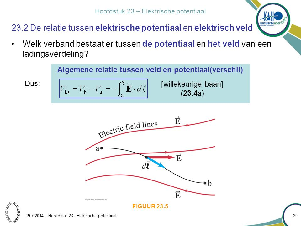 Hoofdstuk 23 – Elektrische potentiaal 19-7-2014 - Hoofdstuk 23 - Elektrische potentiaal 21 23.2 De relatie tussen elektrische potentiaal en elektrisch veld FIGUUR 23.1 (23.4a) Speciaal geval: homogeen veld  en hebben dezelfde richting en zin Potentiaalverschil doorlopen over afstand d in de richting van [homogeen veld] (23.4b)