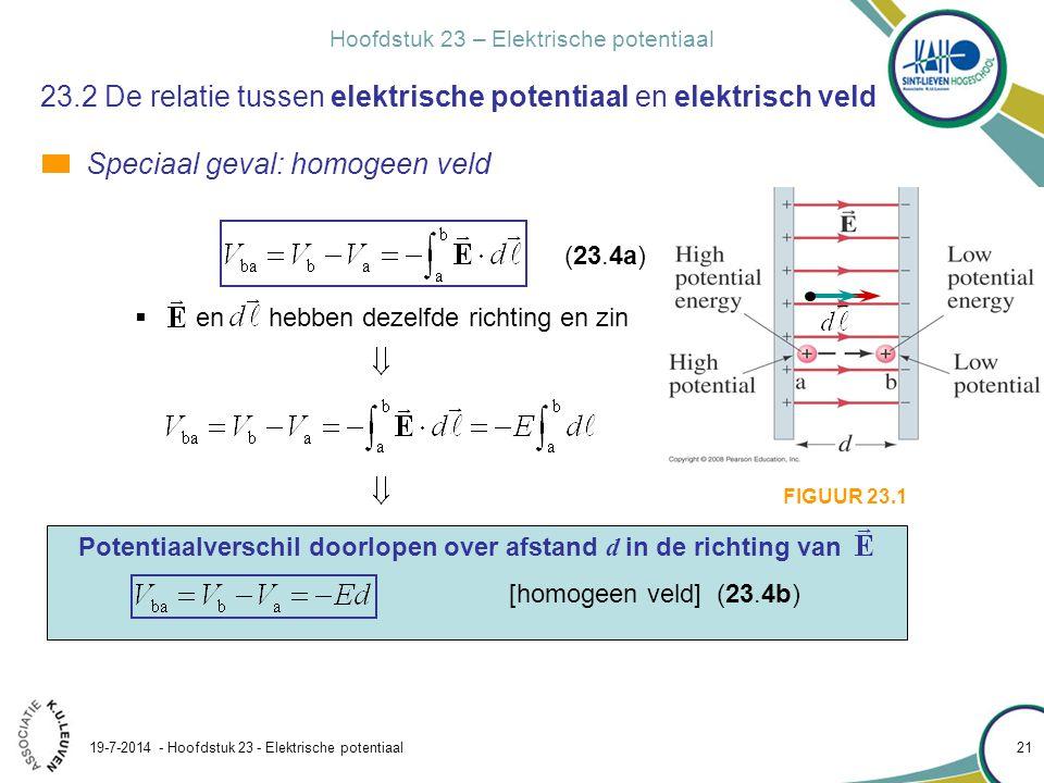 Hoofdstuk 21 – Elektrische lading en elektrische velden 19-7-2014 - Hoofdstuk 23 - Elektrische potentiaal 22 FIGUUR 23.6 23.2 Elektrische potentiële energie en potentiaalverschil Twee evenwijdige platen zijn geladen en produceren een spanning van 50 V.